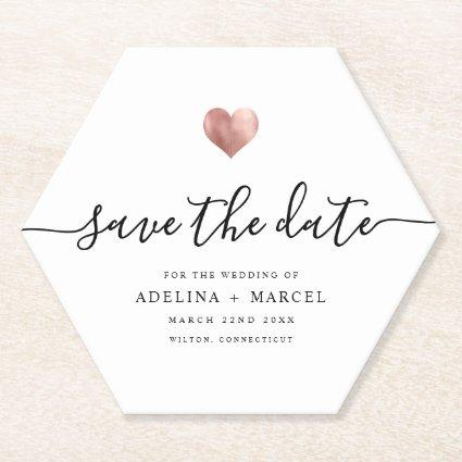 Modern Rose Gold Heart Save the Date Paper Coaster