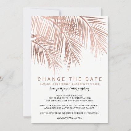 Modern rose gold palm tree elegant change the date save the date