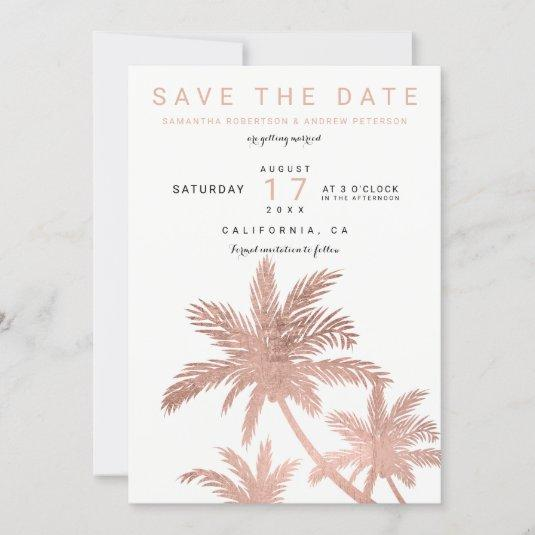 Modern rose gold palm trees elegant save the date
