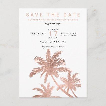 Modern rose gold palm trees elegant save the date announcement