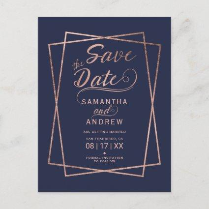 Modern rose gold script geometric save the date 2 announcement
