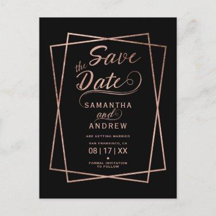 Modern rose gold script geometric save the date Announcements Cards