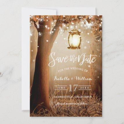 Modern  Rustic Country String Lights Save the Date