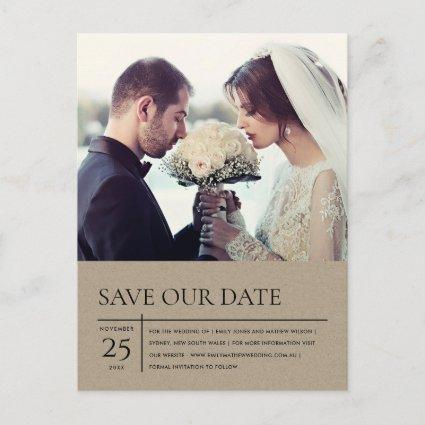 MODERN RUSTIC KRAFT TYPOGRAPHY PHOTO SAVE THE DATE ANNOUNCEMENT