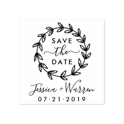 Modern Rustic Save The Date Wedding Announcement Rubber Stamp