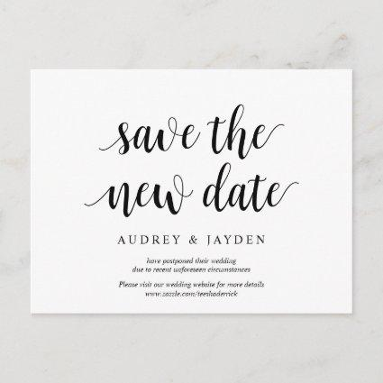 Modern rustic, Save the new date, wed postponed