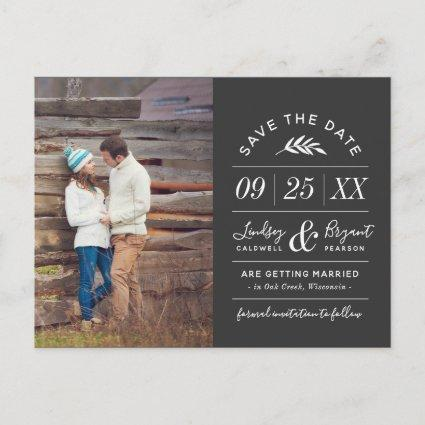 Modern Rustic Typography Photo Save the Date Announcement