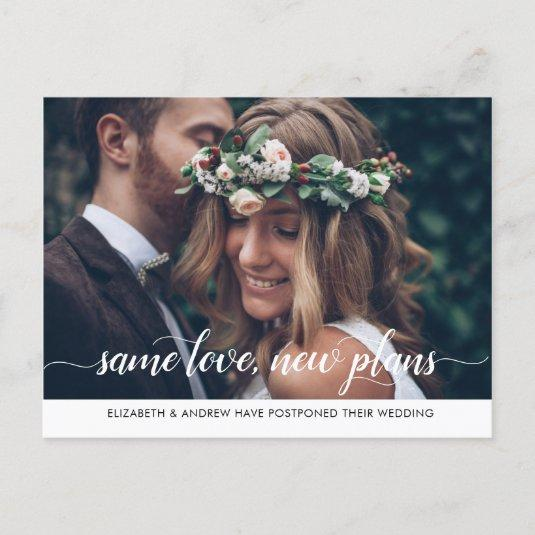 Modern Same Love New Plans Change of Date Photo Announcement