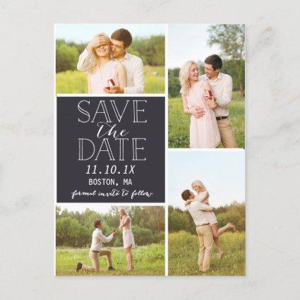 Modern Save The Date 4-Photo Classic Collage Announcements Cards