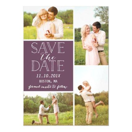 Modern Save The Date 4 Photo Classic PurpleCollage Magnetic Invitation