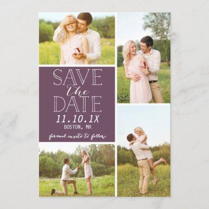 Modern Save The Date 4-Photo Purple Collage