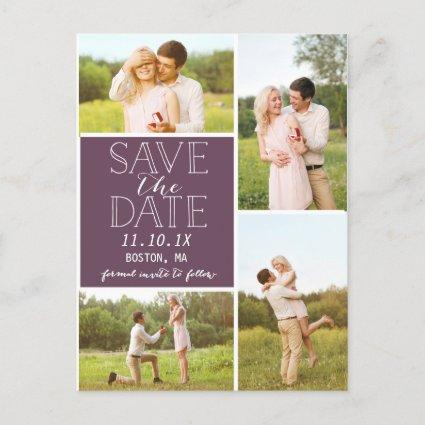 Modern Save The Date 4-Photo Purple Collage Announcement