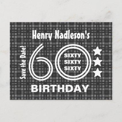Modern Save the Date 60th Birthday Party A03A Announcement