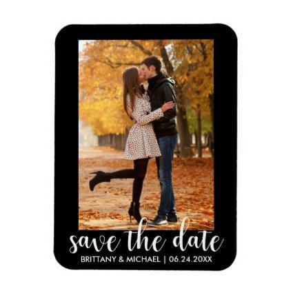 Modern Save The Date Engagement Couple Photo WB Magnet