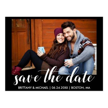 Modern Save The Date Engagement Photo Blk Cards