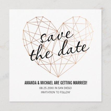 Modern save the date geometric rose gold heart