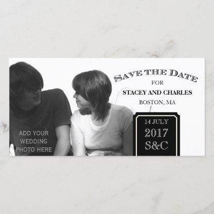 Modern Save the Date Photo  Black and White