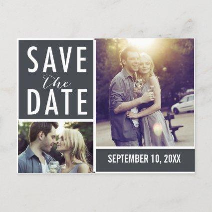 Modern Save The Date Photo Collage Announcements Cards