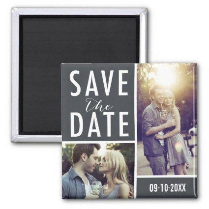 Modern Save The Date Photo Collage Magnets