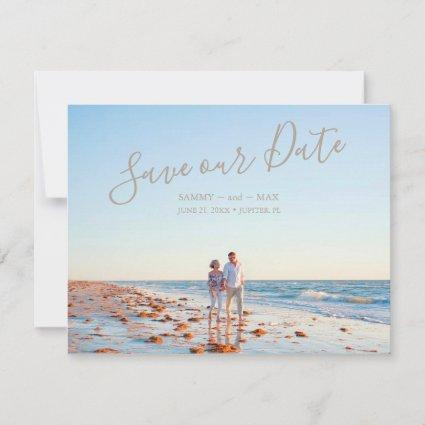 Modern Save the Date with Couple Photo