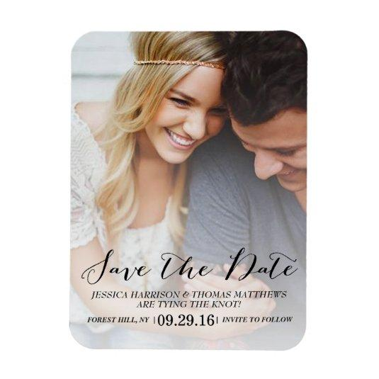Modern Script | Custom Photo Save The Date Magnets
