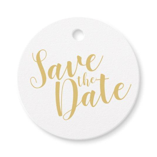 Modern Script Gold Wedding Save the Date Favor Tags