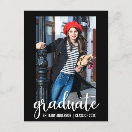Modern Script Graduation Announcements Photo WB