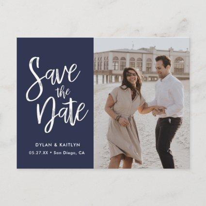 Modern Script Navy Minimalist Photo Save the Date Announcements Cards