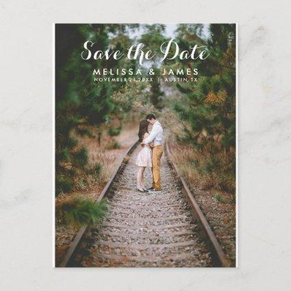Modern Script Photo Wedding Save The Date Announcement