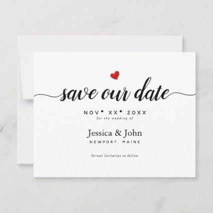 Modern Script Save our Date, Heart Save The Date