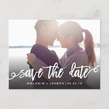 Modern Script Save The Date Full Photo