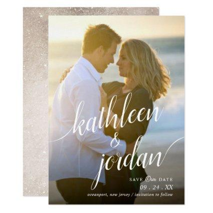 Modern Script Save the Date Wedding Announcement