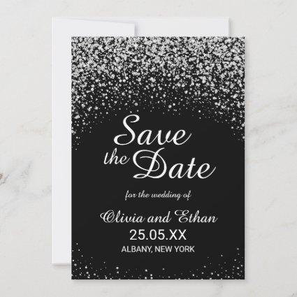 Modern Silver Glitter on Black Save The Date