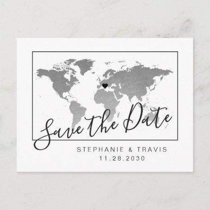 Modern Silver Map Save Date