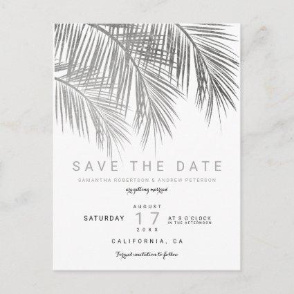 Modern silver palm tree elegant save the date announcement