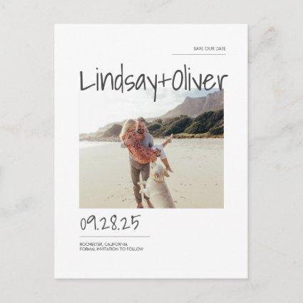 Modern Simple and Minimal Save the Date Photo Announcement