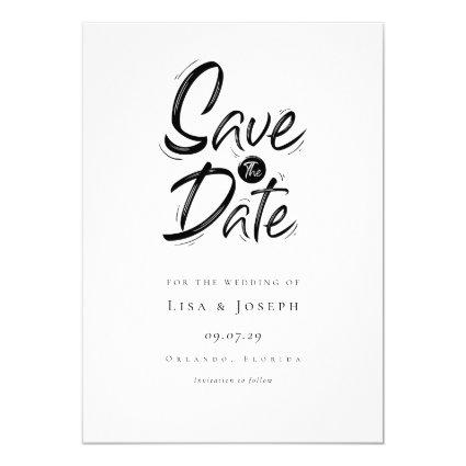 Modern Simple Black and White Save the Date Invitation
