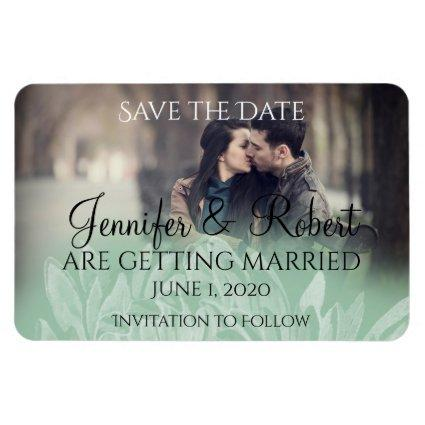 Modern Simple Flower in Mint Wedding Save the Date Magnet