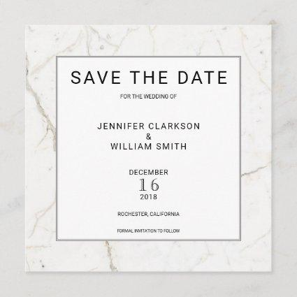 Modern simple marble white Wedding Save the Date