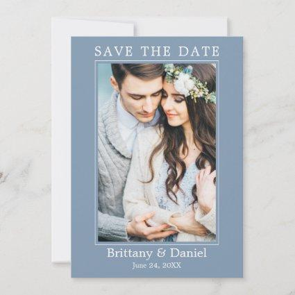 Modern Simple Minimalist Photo Dusty Blue Save The Date