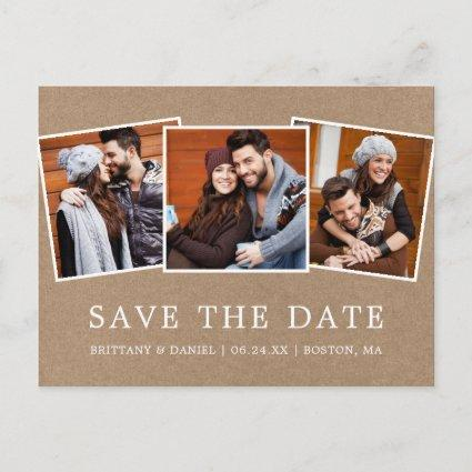 Modern Simple Save Our Date 3 Photo Kraft