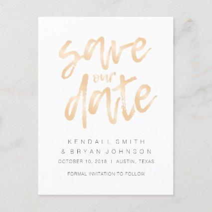 Modern Sleek Minimalist Rose Gold Save the Date Announcement