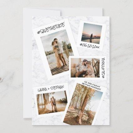 Modern social media marble 5 photo save the date