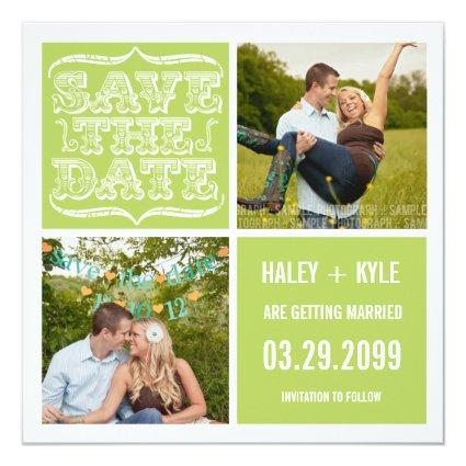 Modern Spring Green Save the Date Photo