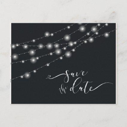 Modern String Lights Save the Date B&W ID585 Announcement