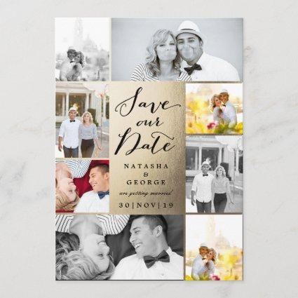 Modern Stylish Photo Collage Save The Date Cards