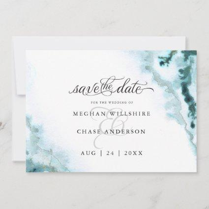 Modern Teal Watercolor Moss Agate BarefootBride™ Save The Date