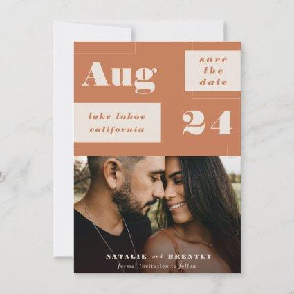 Modern Terracotta Geometrics with Bold Text Photo Save The Date