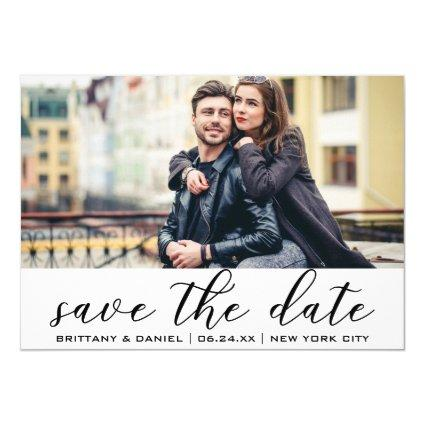 Modern Trendy Save The Date Engagement Photo Invitation