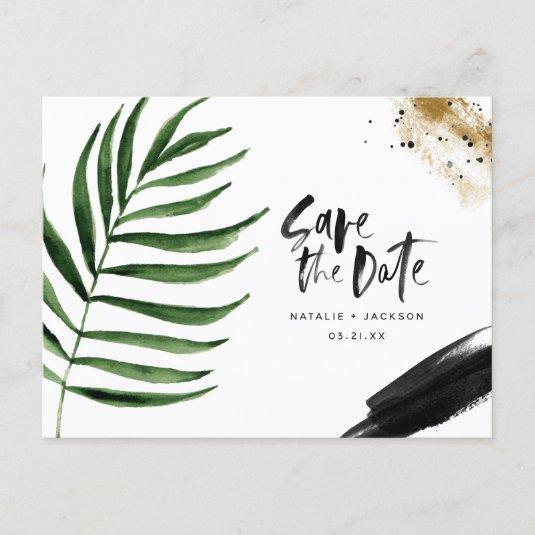 Modern tropical abstract painted wedding announcement